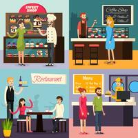 Café arbetare platt ikonuppsättning