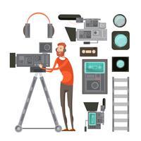 Filmkameraman med videoutrustning vektor