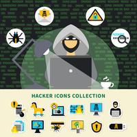 hacker aktivitet ikoner samling vektor
