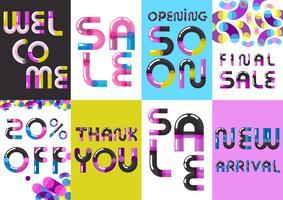 Försäljning Banners Font Set Poster vektor