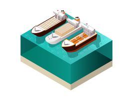 Isometrische Zusammensetzung von Frachtbooten vektor