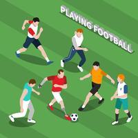 Behinderter, der Fußball-isometrische Illustration spielt