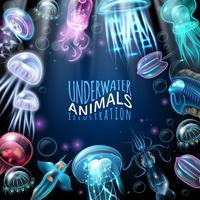 Undervattensdjur ram bakgrund vektor