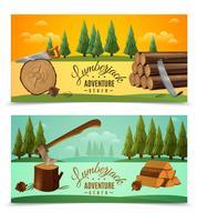 Lumberjack Woodcutter Horisontell Banners Set