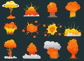 retro tecknad explosion ikonuppsättning vektor