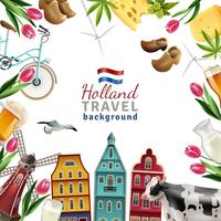 Holland Travel Frame Hintergrund Poster vektor