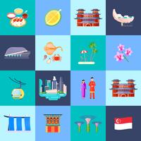 Singapur Kultur flach Icon Set