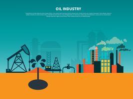 Oljeindustrin platt bakgrund vektor