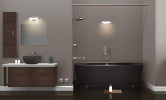 Realistisk badrumsinredning vektor