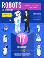 Roboter-Ausstellung isometrisches Poster