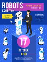 Robotutställning Isometrisk affisch