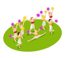 cheerleading isometrisk illustration