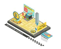 Rufen Sie Taxi mit dem Gadget Isometric Design an vektor