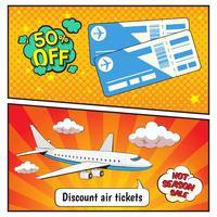 Rabatt flygbiljetter Comic Style Banners vektor