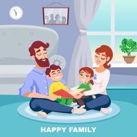 Lycklig familjetecknadaffisch