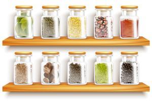 Örter Kryddor Set Sammansättning vektor