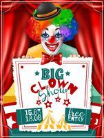 Zirkusclown-Show-Einladungs-Anzeigen-Plakat vektor