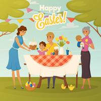 Familien-Ostern-Abendessen-flaches Plakat vektor