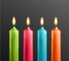 Kerzen auf realistischem Satz des transparenten Hintergrundes vektor