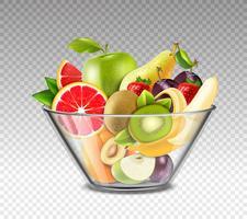 Realistiska frukter i glasskål