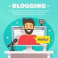 Blogger-Arbeitsbereich-Hintergrund-Illustration vektor