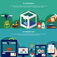 Horisontell Banners Set Med 3D Skrivare Och Förbrukningsartiklar