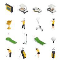 Golffärgade isometriska isolerade ikoner