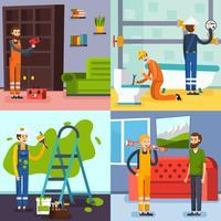 Renoveringskoncept 4 platta ikoner