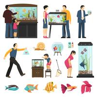 Menschen und Aquarien Set