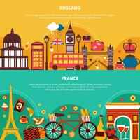 England och Frankrike Horisontella Banderoller vektor