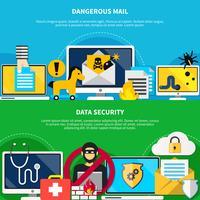 Farlig post och datasäkerhet Flat Banners vektor