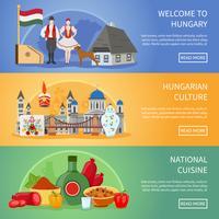 Välkommen till Ungerns banderoller vektor