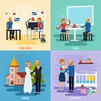 Familien-Verhältnis-Zeichen-Ikonen-Satz