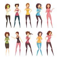 Krankheits-Frauen-Retro- Karikatur-Ikonen-Satz