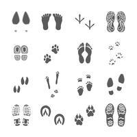 Olika fotspår sätta svart på vitt