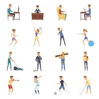 Aktiver Lebensstil-Charakter-Icons