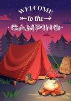 Välkommen till campingaffischen vektor