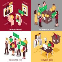 isometrisches Crowdfunding 2x2 Designkonzept