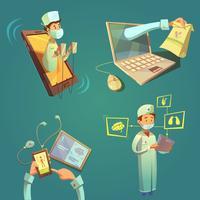 online doktors tecknad set vektor