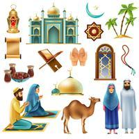 Ramadan Kareem Mubarak Symboler Ikoner Set vektor