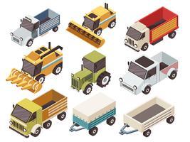 landwirtschaftliche Fahrzeuge isometrisch eingestellt vektor