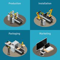 Isometrische Zusammensetzung der Elektronikfabrik vektor