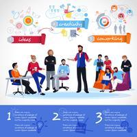 Coworking Infografiken Vorlage vektor