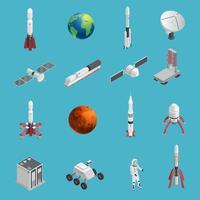 3d raket rymd ikonuppsättning