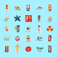 Beach People Funny Flat Ikoner Collection