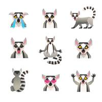 Polygonale Lemur-Icon-Set