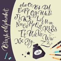 Künstlerischer Hintergrund mit Tintenstiften und Alphabet vektor