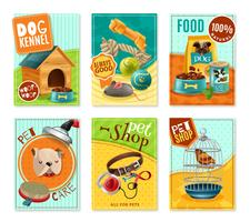 Pet Care 6 Mini Banners Set vektor
