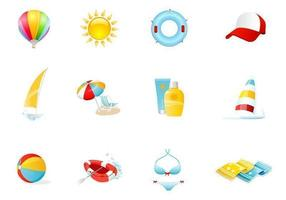 Strand ikoner vektor pack