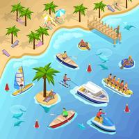 Tropisk strand båt bakgrund vektor